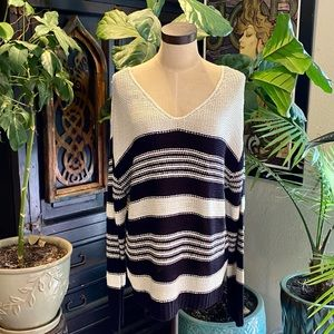 RDI striped v-neck slouchy sweater